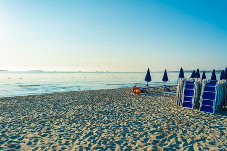 sunrise on the beach of La Pelosa, in the city of Stintino, in sardinia