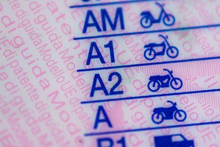 Foto de Macrophotography on european driving license categories - Imagen libre de derechos