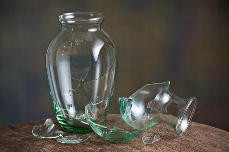 still life photography , broken glass vase