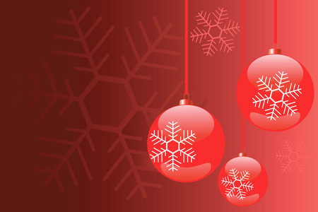 Vector Christmas Background with snowflakes, baubles, in reds colors