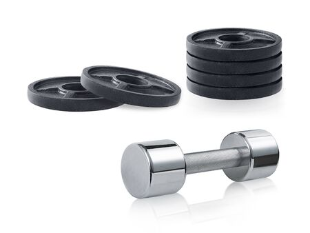 Photo for steel dumbbells isolated on white background - Royalty Free Image
