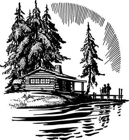 Illustration pour Beautiful Cabin By A Lake - image libre de droit