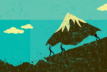 Illustration pour Moving Mountains, Businessmen moving a mountain uphill. The men & mountain and background are on separate labeled layers. - image libre de droit