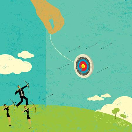Illustration pour Trying to hit a moving target - image libre de droit