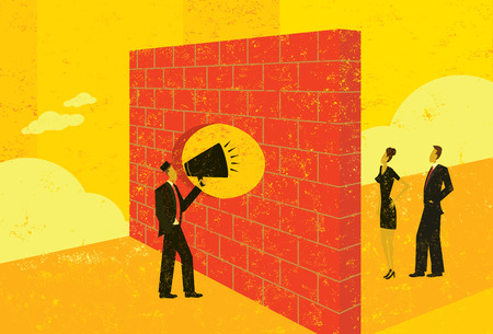 Illustration pour Shouting through a brick wall - image libre de droit