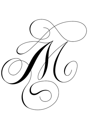 Calligraphy alphabet letter M