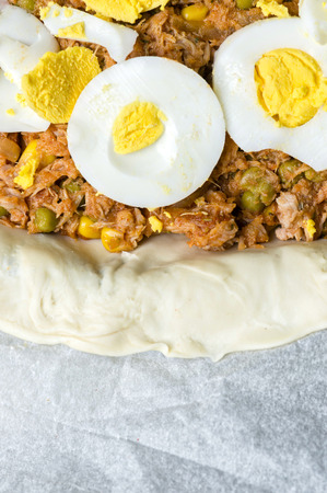 Super Spanish pies or empanadas stuffed with tuna, vegetables and eggs.