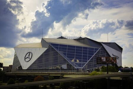 ATLANTA, GA - September 29, 2018: Mercedes-Benz Stadium on September 29, 2018 in Atlanta. Mercedes-Benz Stadium is the home of the Atlanta Falcons NFL team and will host Super Bowl LIII in 2019