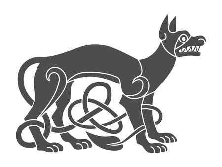 Ancient celtic mythological symbol of wolf, dog. Vector knot orn