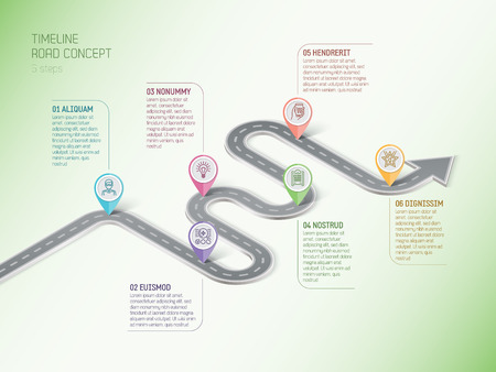 Illustration pour Isometric navigation map infographic 6 steps timeline concept. Winding road. Vector illustration. - image libre de droit