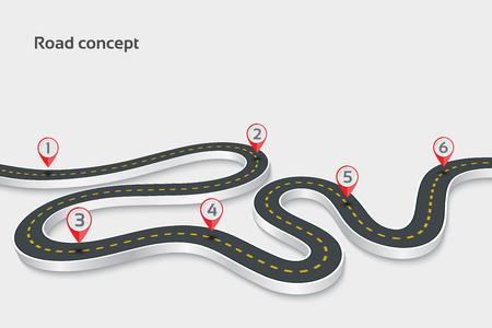 Illustration pour Winding 3d road infographic concept on a white background. Timel - image libre de droit