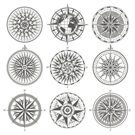 Illustration pour Set of vintage antique wind rose nautical compass signs labels e - image libre de droit