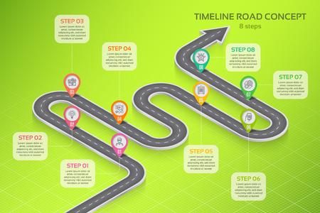 Illustration pour Isometric navigation map infographic 8 steps timeline concept - image libre de droit