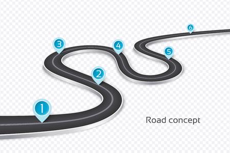 Illustration pour Winding 3d road infographic concept on a white background. Timeline template. Vector illustration - image libre de droit