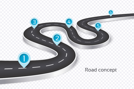 Winding 3d road infographic concept on a white illustration.