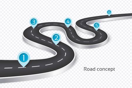 Illustration pour Winding 3d road infographic concept on a white illustration. - image libre de droit