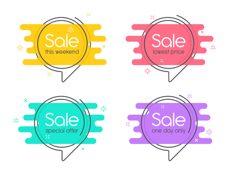 Ilustración de Flat linear promotion banner, speech bubble, price tag, sticker, - Imagen libre de derechos