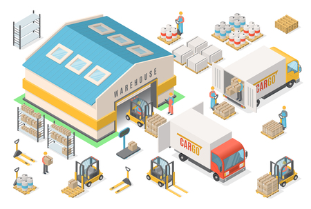 Illustration pour Isometric warehouse icon set, scheme, logistic concept - image libre de droit