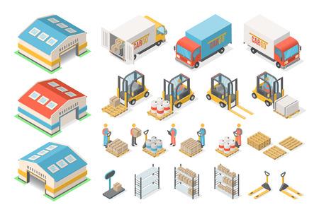 Ilustración de Isometric warehouse icon set, scheme, logistic concept - Imagen libre de derechos