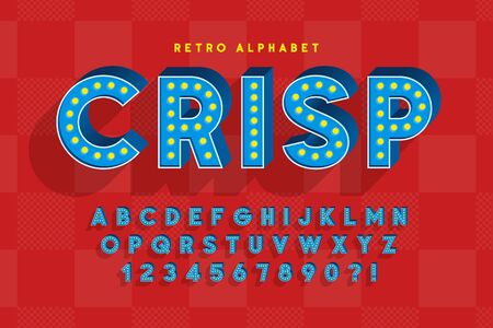 Illustration pour Retro cinema font design, cabaret, LED lamps letters - image libre de droit