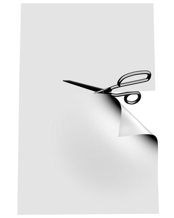 Scissor clipping empty blank. 3d image.