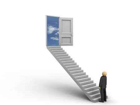A 3d image of businessman looking at ladders to the sky.
