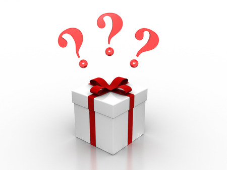 3D image of present with question marks.