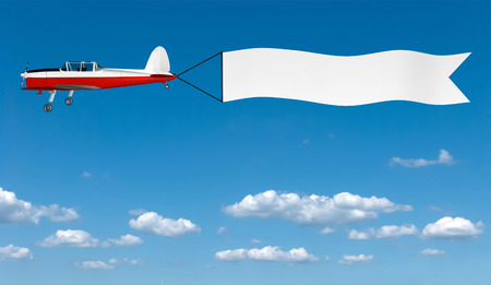 3D image of plane with banner on sky background.