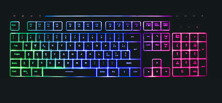 Photo for mechanical keyboard with leds and mouse - Royalty Free Image