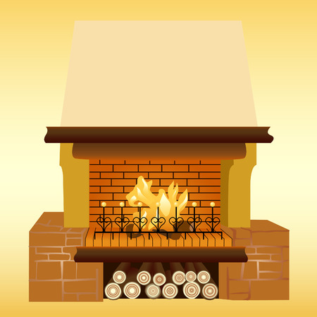 Illustration of a fireplace. For further use in your design