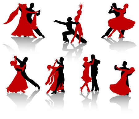 Silhouettes of the pairs dancing ballroom dances. A waltz, a tango, a foxtrot.