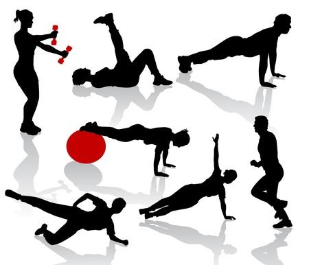 Ilustración de Silhouettes of exercises people - Imagen libre de derechos
