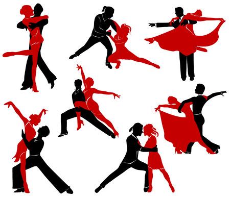 Illustration pour Silhouettes of the pairs dancing ballroom dances. - image libre de droit
