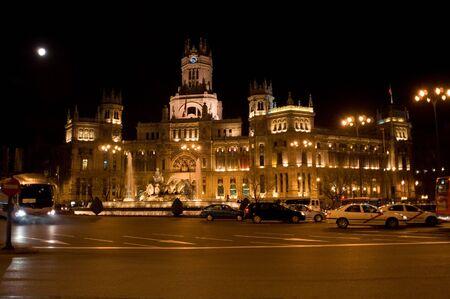 Communication palace in Madrid (Gran via) at night