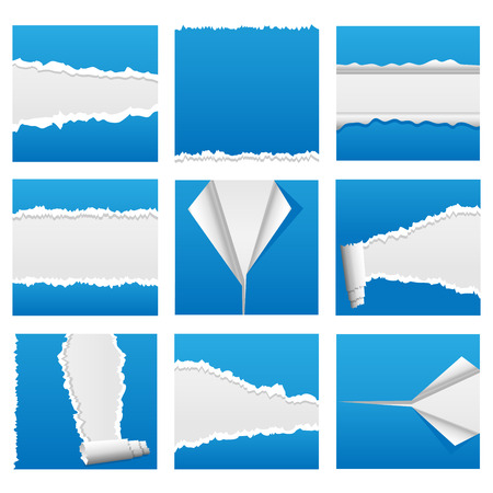 Torn paper design elements for web, presentations or computer applications. Rip, tear and peel variations included.