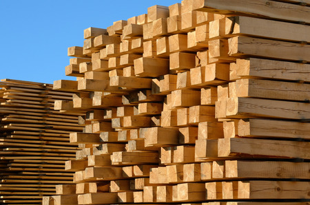 Photo pour wooden boards stacked at the timber yard - image libre de droit