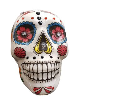 Photo pour Day of The Dead colorful skull isolated on white background with copy space - image libre de droit