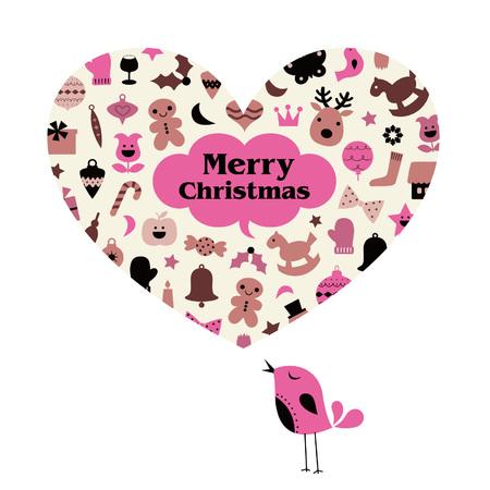 Illustration pour vector Christmas bird card - image libre de droit
