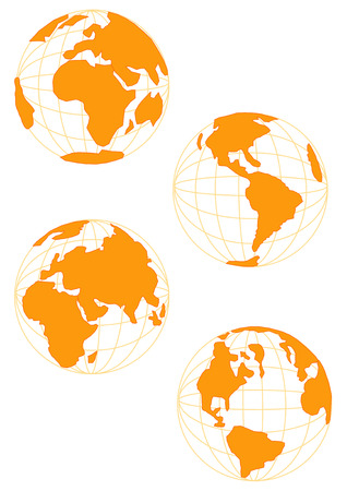 Vector Illustration of planet Earth in four profiles. In brown tone.
