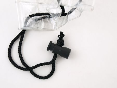 A black cord drawstring for a clear plastic bag isolated on a white background