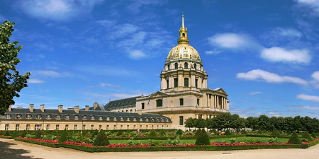 Panoramic view on beautiful garden and church at Les Invalides (L
