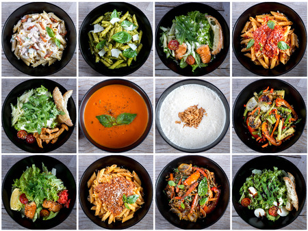 Italian food collage with pasta, salads and soups. Top view