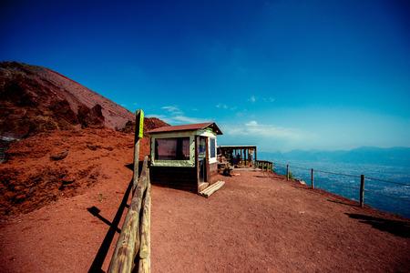 VESUVIUS, POMPEI/ITALY - 09.23.2014 (Hut for tourists on the top of Vesuvius volcano)