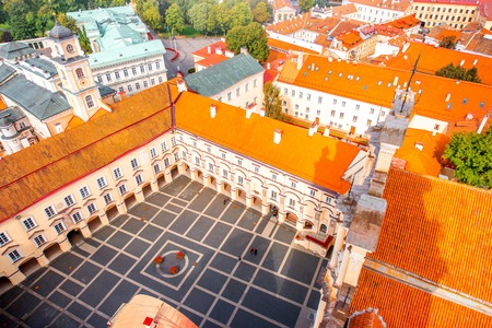 Vilnius, Lithuania - September 21, 2016: Top view on the inner yard of Vilnius university. It is one of the oldest university in Northern Europe and the largest one in Lithuania.