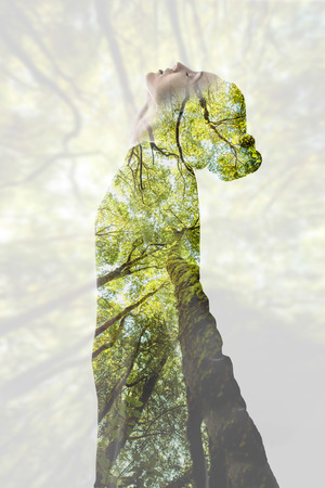 Photo for Double exposure woman portrait - Royalty Free Image