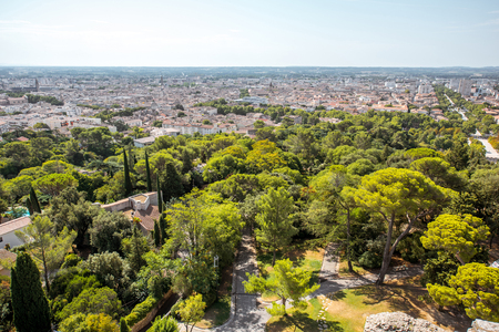 Aerial cityscape view from Magne tower on the old town of Nimes city in southern France