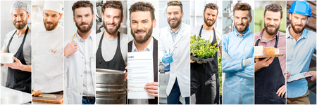 Collage of portraits of a handsome man with different professions