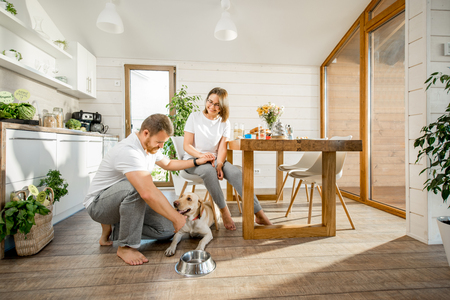 Foto de Young couple playing with dog during a breakfast in the dining room of their beautiful wooden country house - Imagen libre de derechos