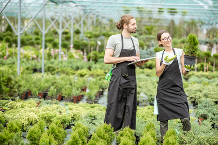 Photo for Couple of workers in uniform using digital tablet taking care of plants in the greenhouse of the plant shop - Royalty Free Image