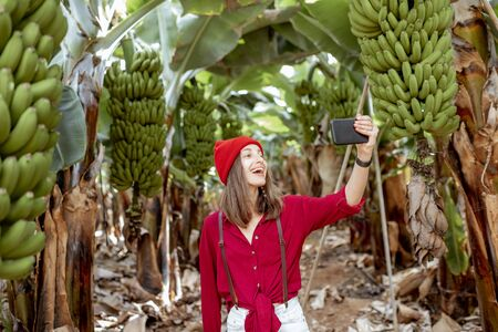 Photo for Woman as a tourist dressed in red exploring banana plantation, photographing or vlogging on phone. Concept of a healthy eating or green tourism - Royalty Free Image